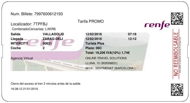 Billete Tren Valladolid  Zaragoza 12/02/2016