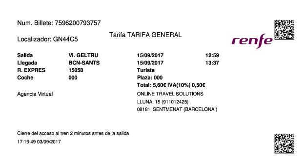 Billete Tren Vilanova i la Geltrú  Barcelona 15/09/2017