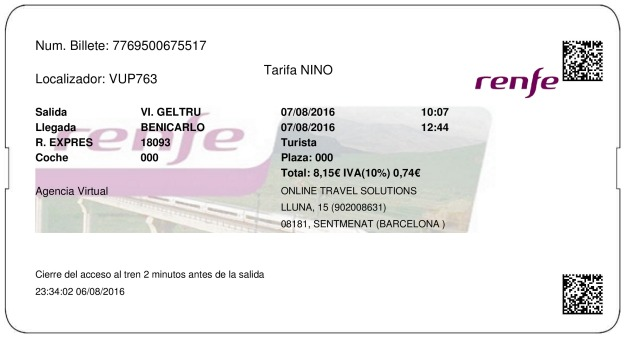 Billete Tren Vilanova i la Geltrú  Benicarló 07/08/2016