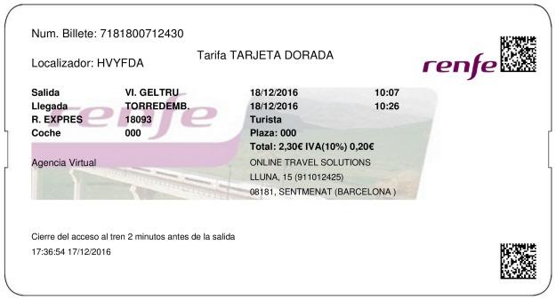 Billete Tren Vilanova i la Geltrú  Torredembarra 18/12/2016