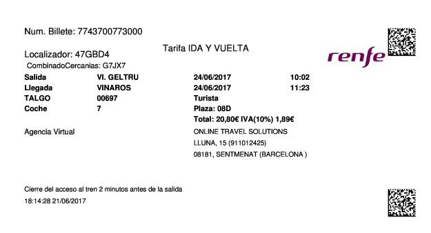 Billete Tren Vilanova i la Geltrú  Vinaròs 24/06/2017