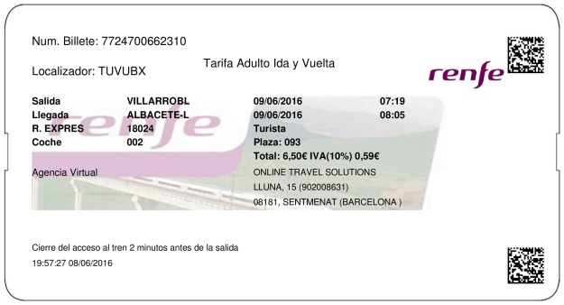 Billete Tren Villarrobledo  Albacete 09/06/2016