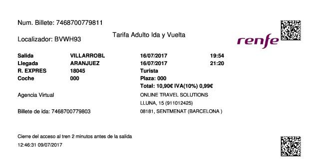 Billete Tren Villarrobledo  Aranjuez 16/07/2017