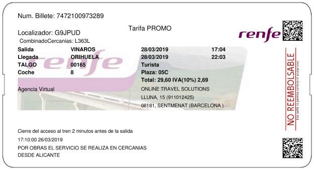 Billete Tren Vinaròs  Orihuela 28/03/2019