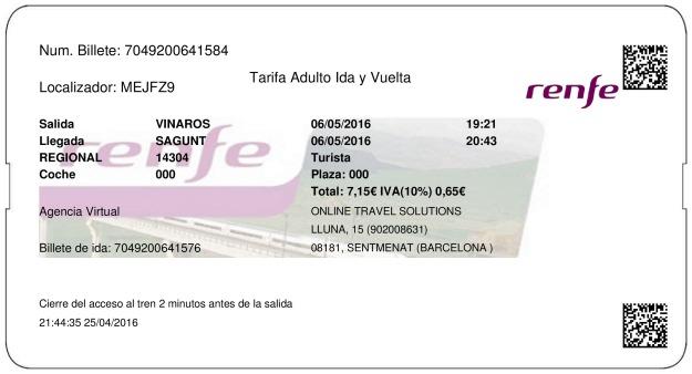 Billete Tren Vinaròs  Sagunto 06/05/2016