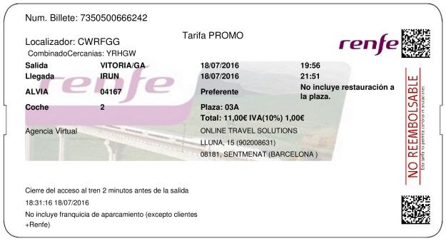 Billete Tren Vitoria Gasteiz  Irún 18/07/2016
