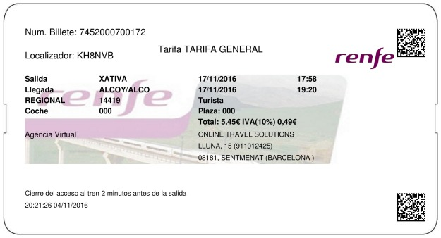 Billete Tren Xàtiva  Alcoy 17/11/2016