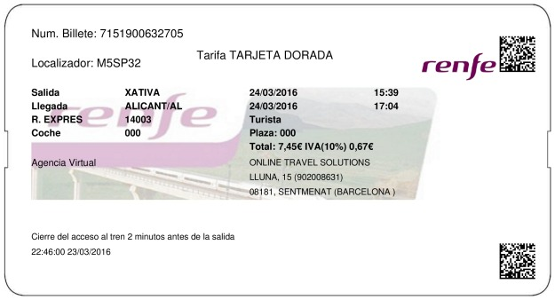Billete Tren Xativa  Alicante 24/03/2016