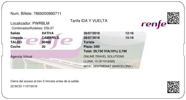 Billete Tren Xàtiva  Cambrils 28/07/2018