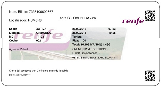 Billete Tren Xativa  Orihuela 26/09/2016