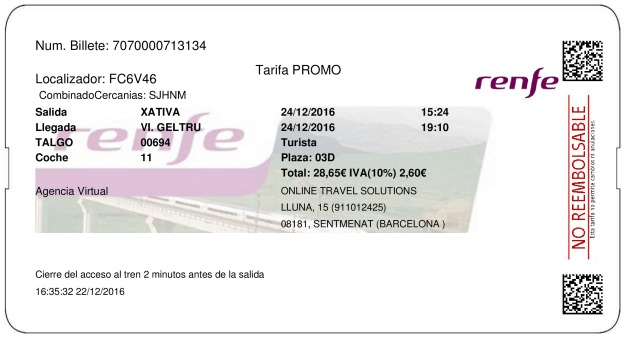 Billete Tren Xativa  Vilanova i la Geltrú 24/12/2016