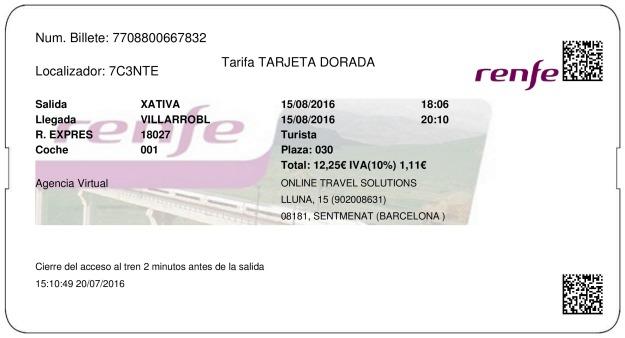 Billete Tren Xativa  Villarrobledo 15/08/2016