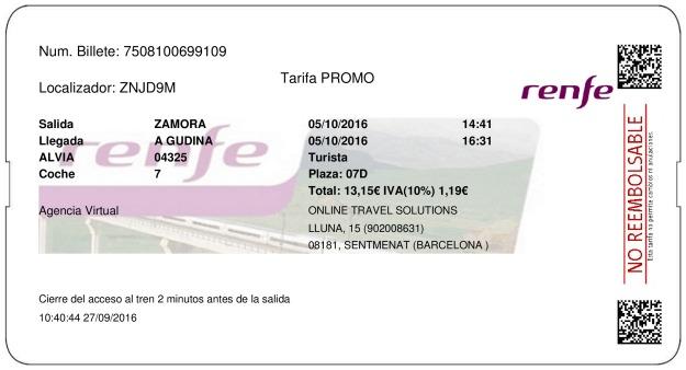 Billete Tren Zamora  A Gudiña 05/10/2016