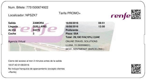 Billete Tren Zamora  Guillarei 16/08/2016