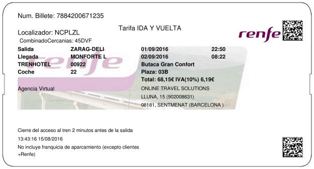 Billete Tren Zaragoza  Monforte de Lemos 01/09/2016