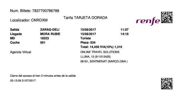 Billete Tren Zaragoza  Mora de Rubielos 15/08/2017
