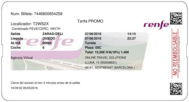 Billete Tren Zaragoza  Oviedo 07/06/2016
