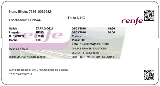 Billete Tren Zaragoza  Reus 06/03/2016