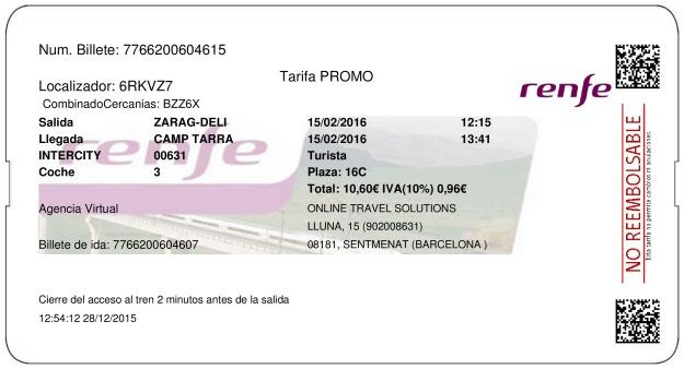 Billete Tren Zaragoza  Tarragona 15/02/2016