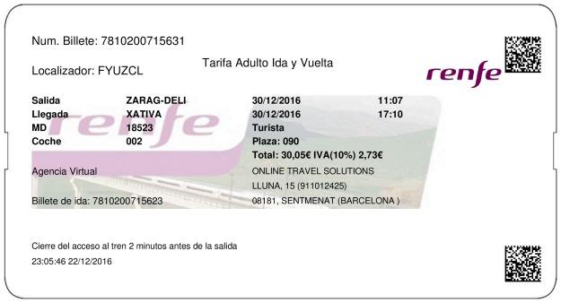 Billete Tren Zaragoza  Xàtiva 30/12/2016