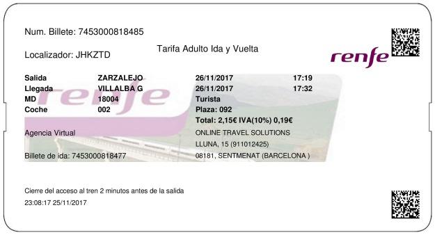 Billete Tren Zarzalejo  Villalba De Guadarrama 26/11/2017