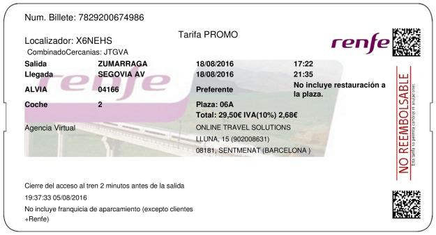 Billete Tren Zumárraga  Segovia 18/08/2016