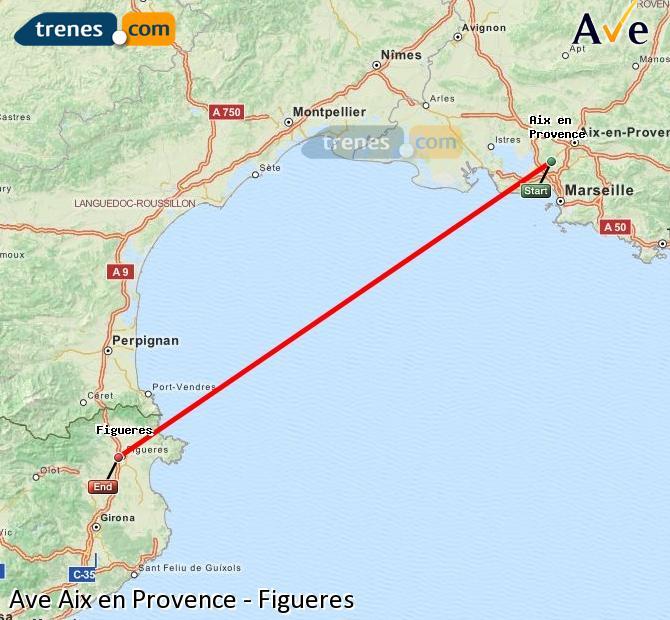 Ampliar mapa AVE Aix en Provence Figueres