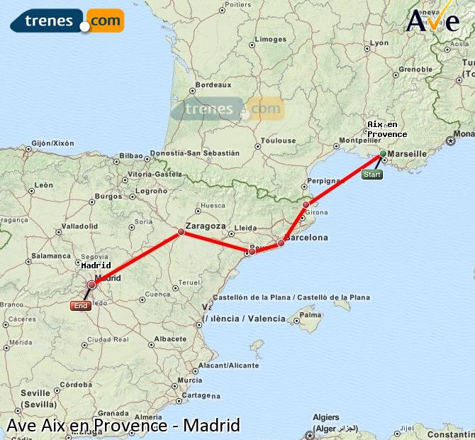 Ampliar mapa AVE Aix en Provence Madrid