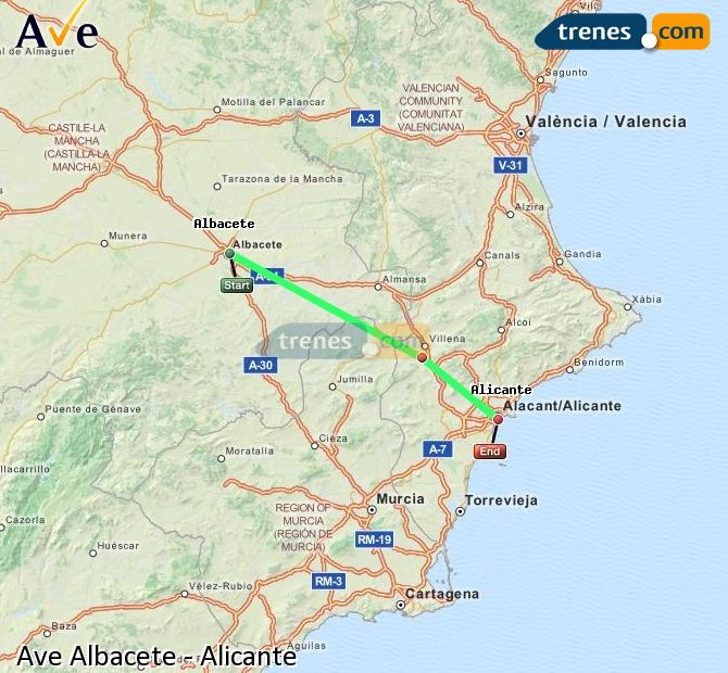 Enlarge map AVE Albacete to Alicante