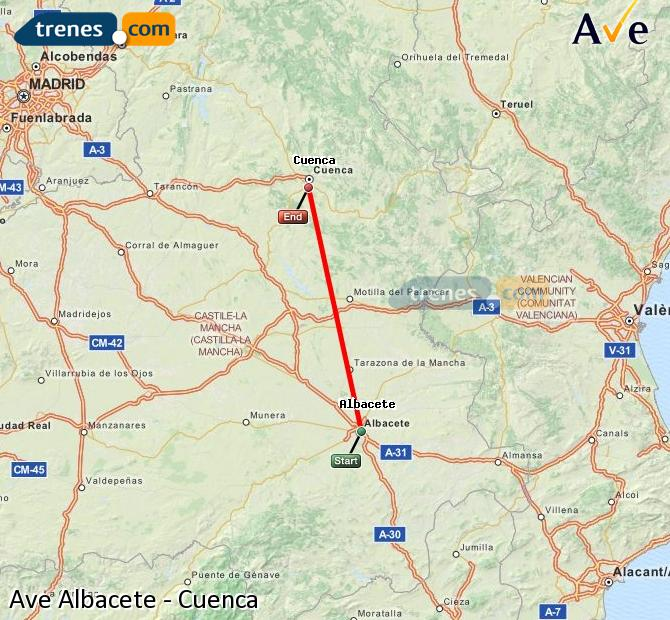 Enlarge map AVE Albacete to Cuenca