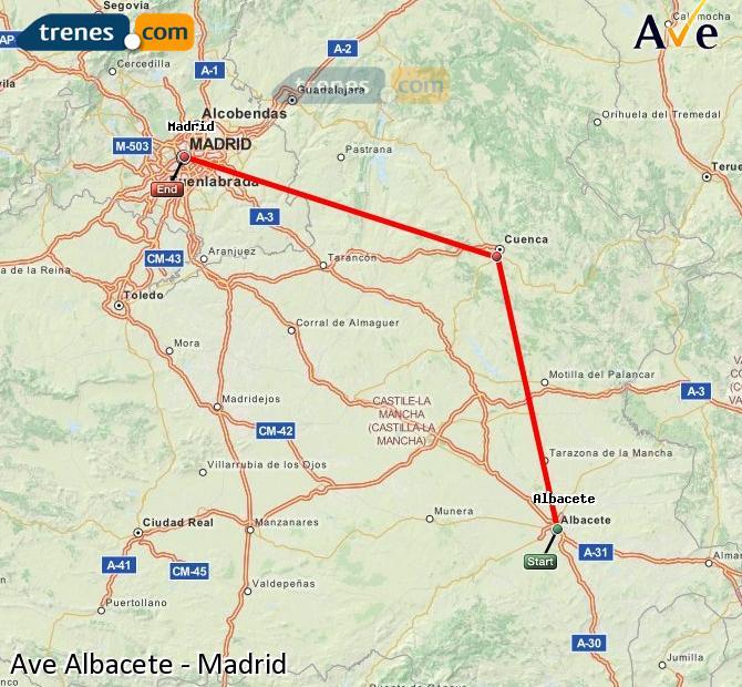 Ampliar mapa AVE Albacete Madrid