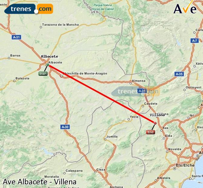 Enlarge map AVE Albacete to Villena