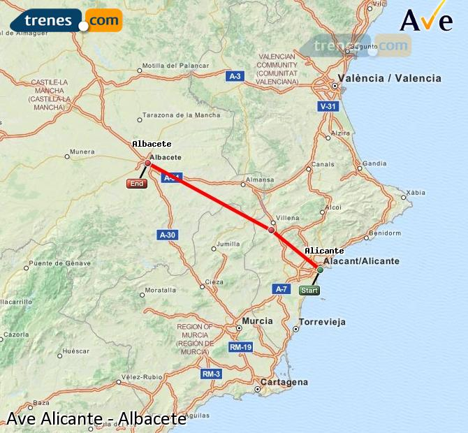 Agrandir la carte AVE Alicante Albacete