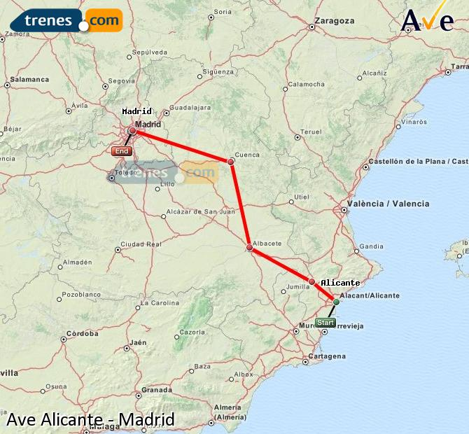 Enlarge map AVE Alicante to Madrid