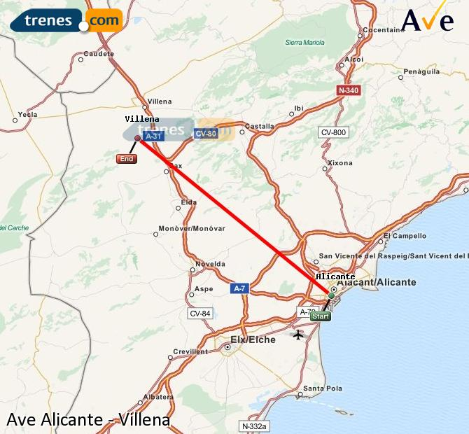 Ampliar mapa AVE Alicante Villena