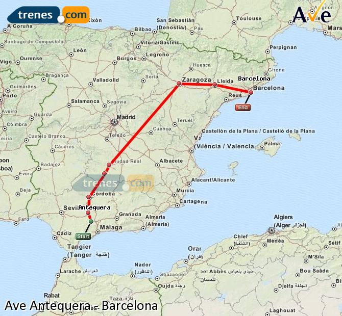 Enlarge map AVE Antequera to Barcelona