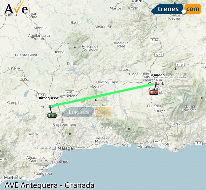 Ampliar mapa AVE Antequera Granada