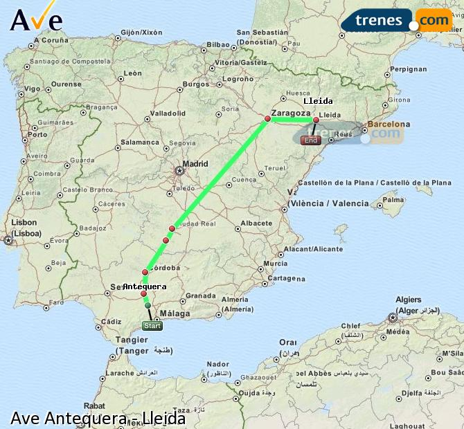 Karte vergrößern AVE Antequera Lleida