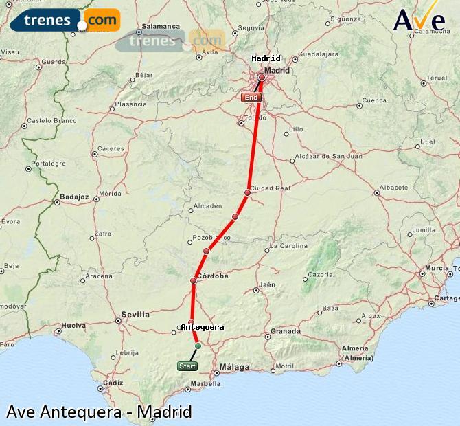 Ingrandisci la mappa AVE Antequera Madrid