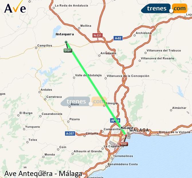 Ampliar mapa AVE Antequera Málaga