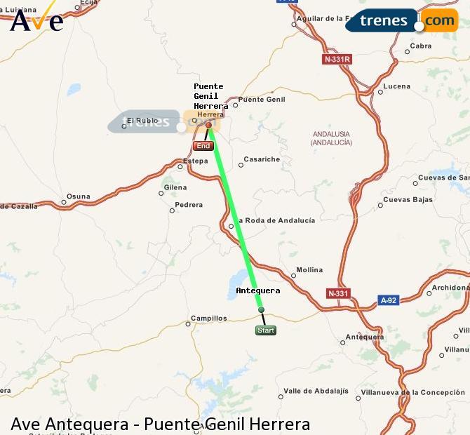 Ampliar mapa AVE Antequera Puente Genil Herrera