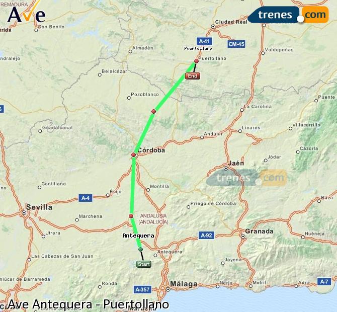 Karte vergrößern AVE Antequera Puertollano
