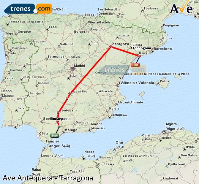 Enlarge map AVE Antequera to Tarragona
