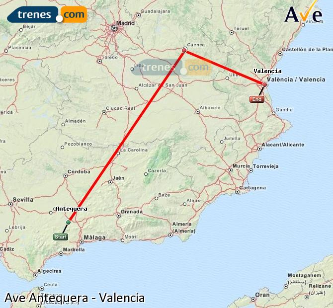 Enlarge map AVE Antequera to Valencia