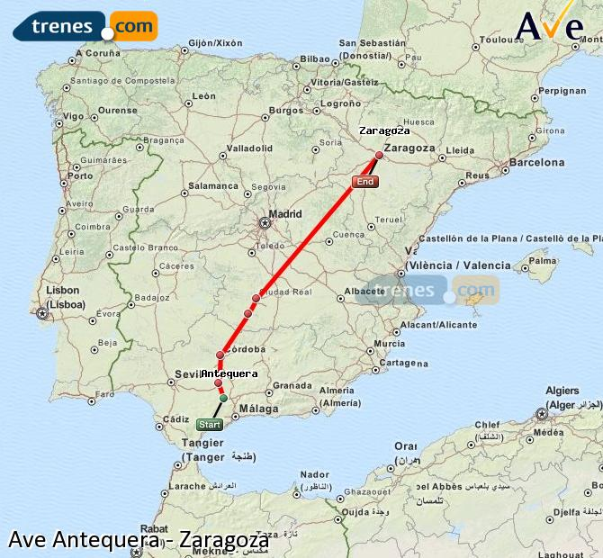 Enlarge map AVE Antequera to Zaragoza