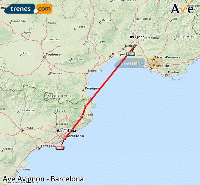 Karte vergrößern AVE Avignon Barcelona