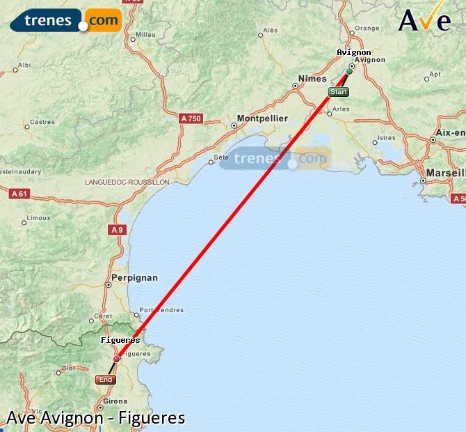 Karte vergrößern AVE Avignon Figueres