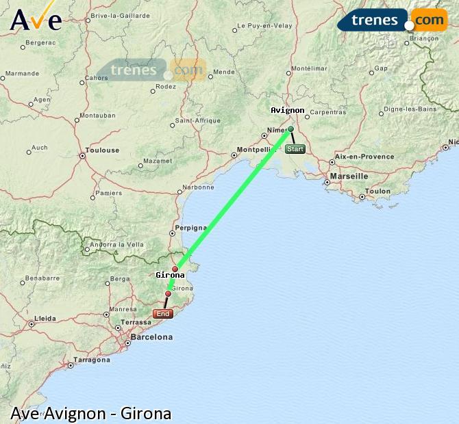 Ampliar mapa AVE Avignon Girona