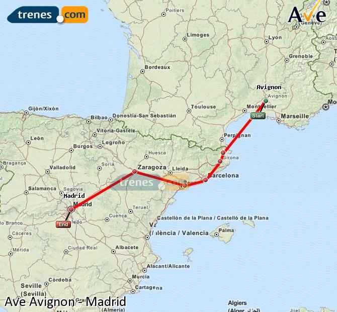Karte vergrößern AVE Avignon Madrid
