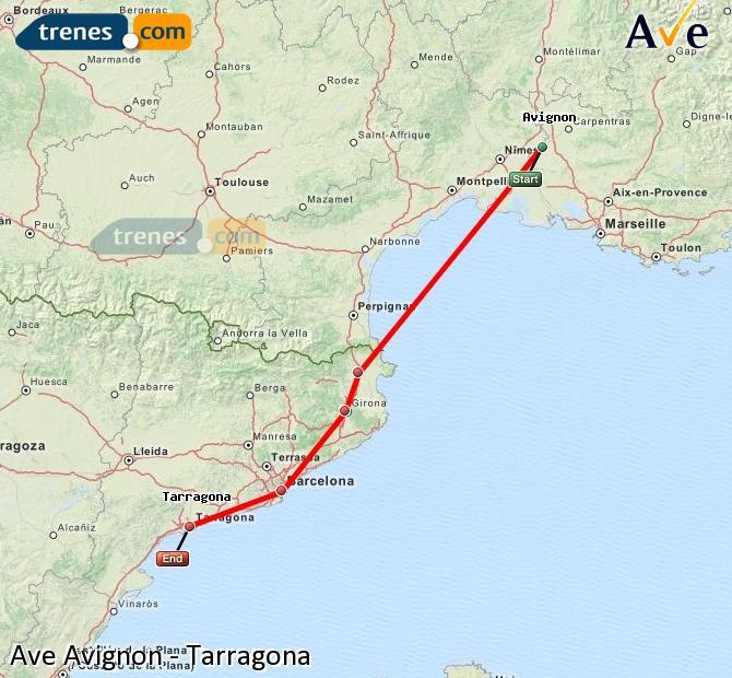 Karte vergrößern AVE Avignon Tarragona